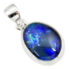 925 sterling silver 8.87cts natural blue australian opal triplet pendant r36154