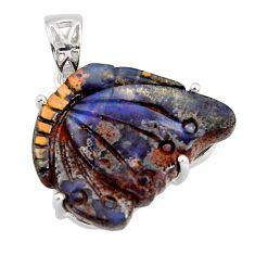 925 sterling silver 21.68cts natural blue boulder opal carving pendant r30818
