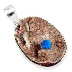 925 sterling silver 19.72cts natural blue cavansite oval handmade pendant r86094