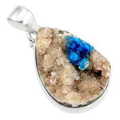 925 sterling silver 17.22cts natural blue cavansite pear handmade pendant r86096