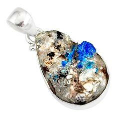 925 sterling silver 11.20cts natural blue cavansite pear handmade pendant r86098