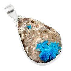 925 sterling silver 17.57cts natural blue cavansite pear handmade pendant r86100