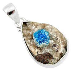 925 sterling silver 11.62cts natural blue cavansite pear handmade pendant r86109