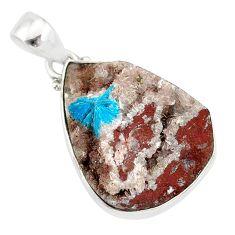 925 sterling silver 14.72cts natural blue cavansite pear handmade pendant r86117