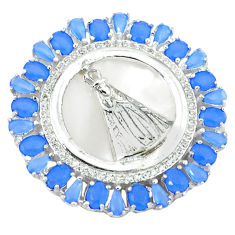 925 sterling silver natural blue chalcedony topaz pendant jewelry c22829