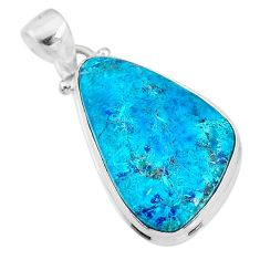925 sterling silver 13.67cts natural blue chrysocolla fancy shape pendant t4133