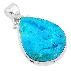 925 sterling silver 11.73cts natural blue chrysocolla pear pendant jewelry t4136