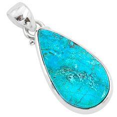 925 sterling silver 10.08cts natural blue chrysocolla pear shape pendant r94377