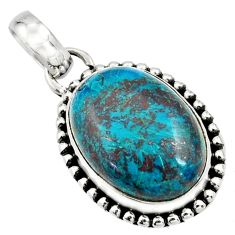 925 sterling silver 14.72cts natural blue chrysocolla pendant jewelry r26532