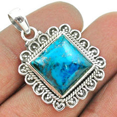 925 sterling silver 9.04cts natural blue chrysocolla pendant jewelry t55988