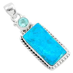 925 sterling silver 12.58cts natural blue chrysocolla topaz pendant r94380