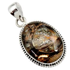 Clearance Sale- 925 sterling silver 16.70cts natural blue colus fossil pendant jewelry d45387