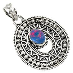 925 sterling silver 2.54cts natural blue doublet opal australian pendant d45080