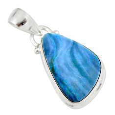 925 sterling silver 7.93cts natural blue doublet opal australian pendant r19597
