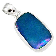 925 sterling silver 9.38cts natural blue doublet opal australian pendant r36128