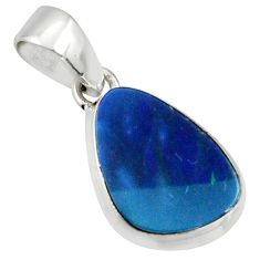 925 sterling silver 5.22cts natural blue doublet opal australian pendant r40033