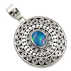 925 sterling silver 3.34cts natural blue doublet opal australian pendant r47024