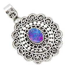 925 sterling silver 3.29cts natural blue doublet opal australian pendant r47038