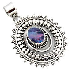 925 sterling silver 3.37cts natural blue doublet opal australian pendant r47044