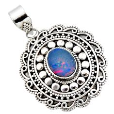 925 sterling silver 3.22cts natural blue doublet opal australian pendant r47053