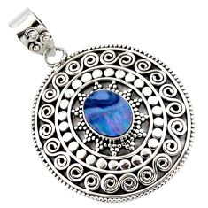 925 sterling silver 3.57cts natural blue doublet opal australian pendant r47059