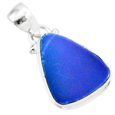 925 sterling silver 7.50cts natural blue doublet opal australian pendant r86219