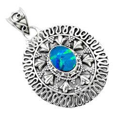 925 sterling silver 2.20cts natural blue doublet opal australian pendant t32553