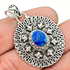 925 sterling silver 2.26cts natural blue doublet opal australian pendant t32572
