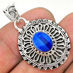 925 sterling silver 2.08cts natural blue doublet opal australian pendant t32627