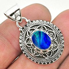 925 sterling silver 1.72cts natural blue doublet opal australian pendant t32664