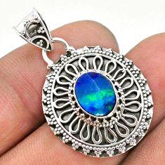 925 sterling silver 1.80cts natural blue doublet opal australian pendant t32680