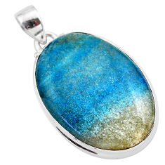 925 sterling silver 22.44cts natural blue dumorite (dumortierite) pendant t28651