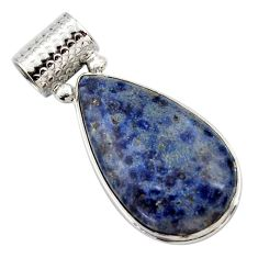 925 sterling silver 19.72cts natural blue dumortierite pear pendant r27991