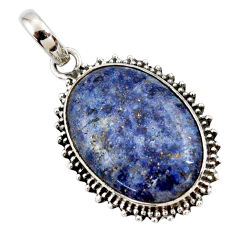 925 sterling silver 18.12cts natural blue dumortierite pendant jewelry r27984