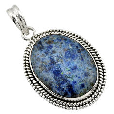 925 sterling silver 21.48cts natural blue dumortierite pendant jewelry r31888