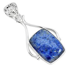 925 sterling silver 14.68cts natural blue dumortierite pendant jewelry r94464