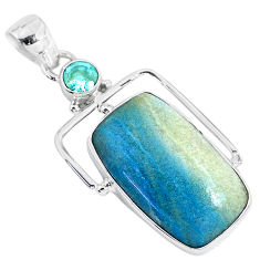 925 sterling silver 16.73cts natural blue dumortierite topaz pendant r94635