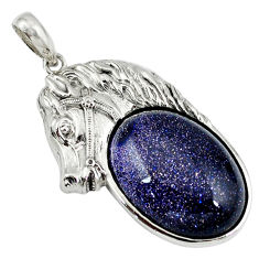 925 sterling silver natural blue goldstone oval horse pendant jewelry c22589