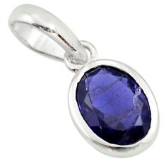 925 sterling silver 3.12cts natural blue iolite oval pendant jewelry r27410