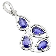 925 sterling silver 6.64cts natural blue iolite pear pendant jewelry d45694