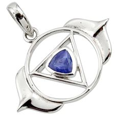 925 sterling silver 1.00cts natural blue iolite pendant jewelry d45607