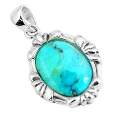 925 sterling silver 2.60cts natural blue kingman turquoise oval pendant c10910