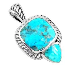 925 sterling silver 4.93cts natural blue kingman turquoise pendant c10840