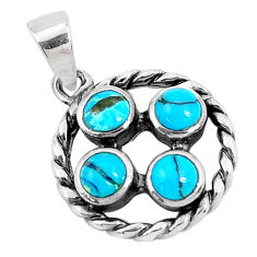 925 sterling silver 2.11cts natural blue kingman turquoise pendant c10888