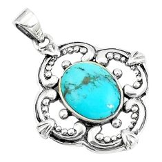 925 sterling silver 2.96cts natural blue kingman turquoise pendant c10892