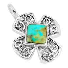 925 sterling silver 2.51cts natural blue kingman turquoise pendant c10894