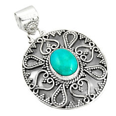 925 sterling silver 5.01cts natural blue kingman turquoise pendant r20277