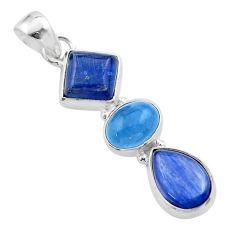925 sterling silver 11.25cts natural blue kyanite aquamarine pendant t48455