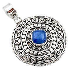 925 sterling silver 3.34cts natural blue kyanite cushion boho pendant r46991