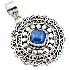 925 sterling silver 2.94cts natural blue kyanite cushion pendant jewelry r47008